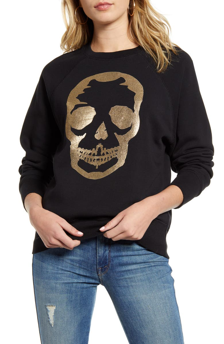ZADIG & VOLTAIRE Metallic Skull Sweatshirt, Main, color, 001