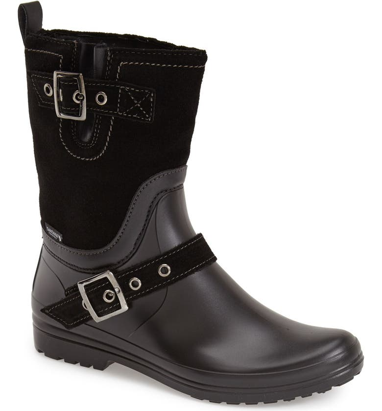 SANTANA CANADA 'Cayley' Waterproof Mixed Media Rain Boot, Main, color, 001
