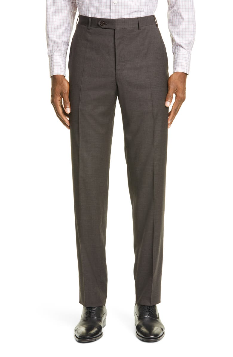 CANALI Flat Front Houndstooth Stretch Wool Dress Pants, Main, color, DARK BROWN
