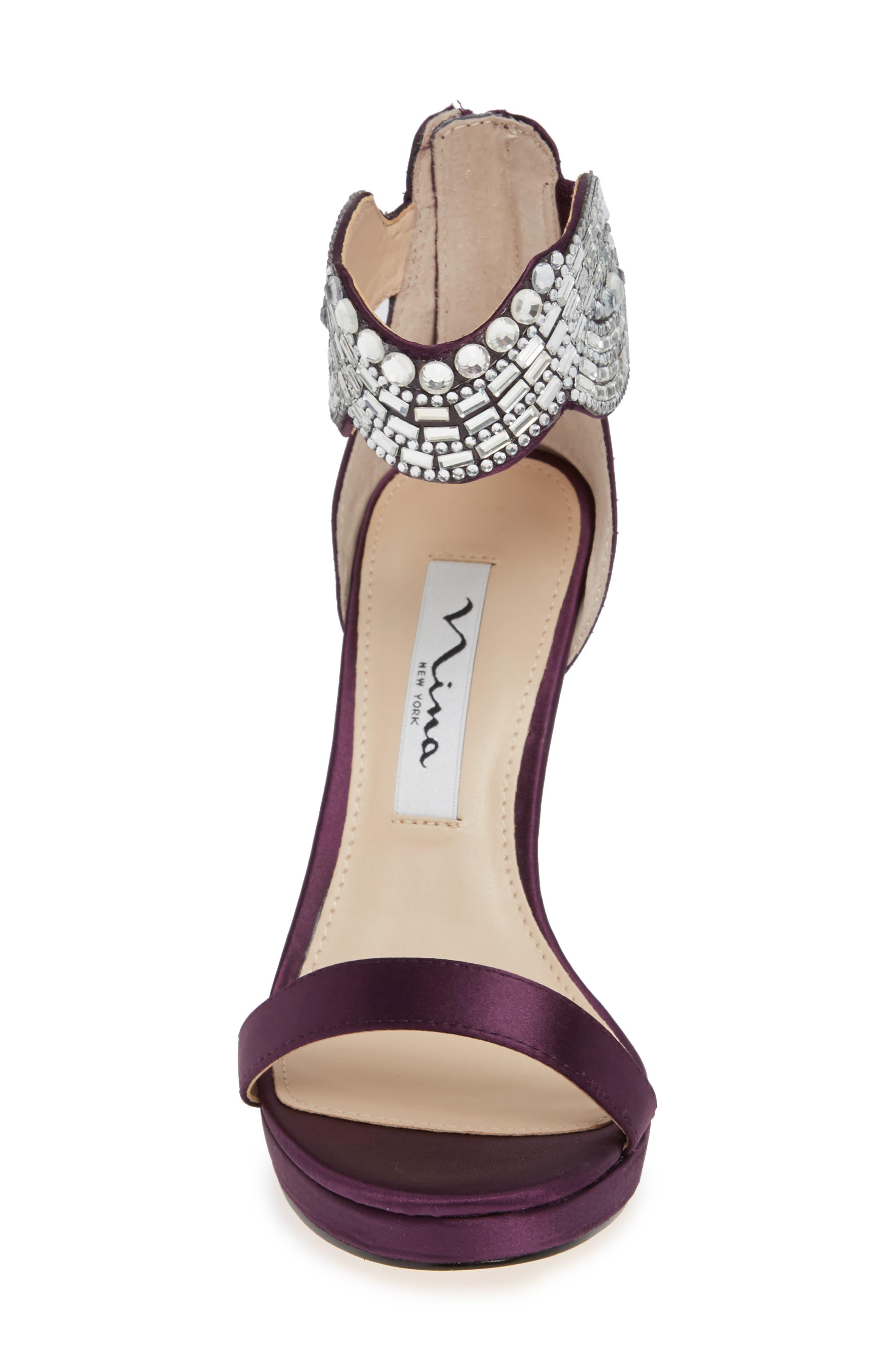 ,                             Fayth Jeweled Ankle Cuff Sandal,                             Alternate thumbnail 4, color,                             EGGPLANT SATIN