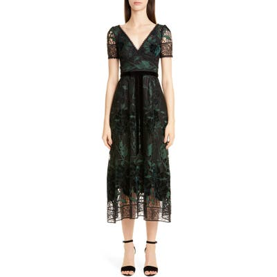 Marchesa Notte Floral Embroidered Lace Dress, Black