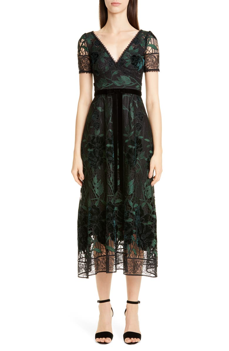 MARCHESA NOTTE Floral Embroidered Lace Dress, Main, color, 001