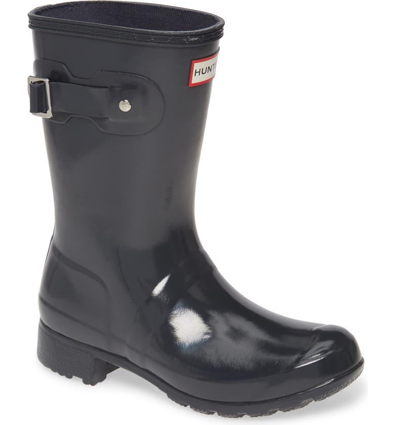 HUNTER Original Tour Short Gloss Packable Rain Boot, Main, color, DARK SLATE
