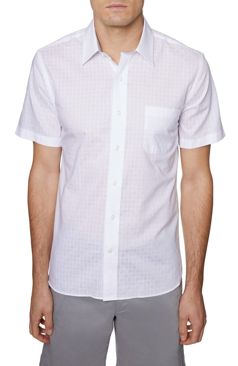 HICKEY FREEMAN Regular Fit Grid Short Sleeve Button-Up Shirt, Main, color, WHITE