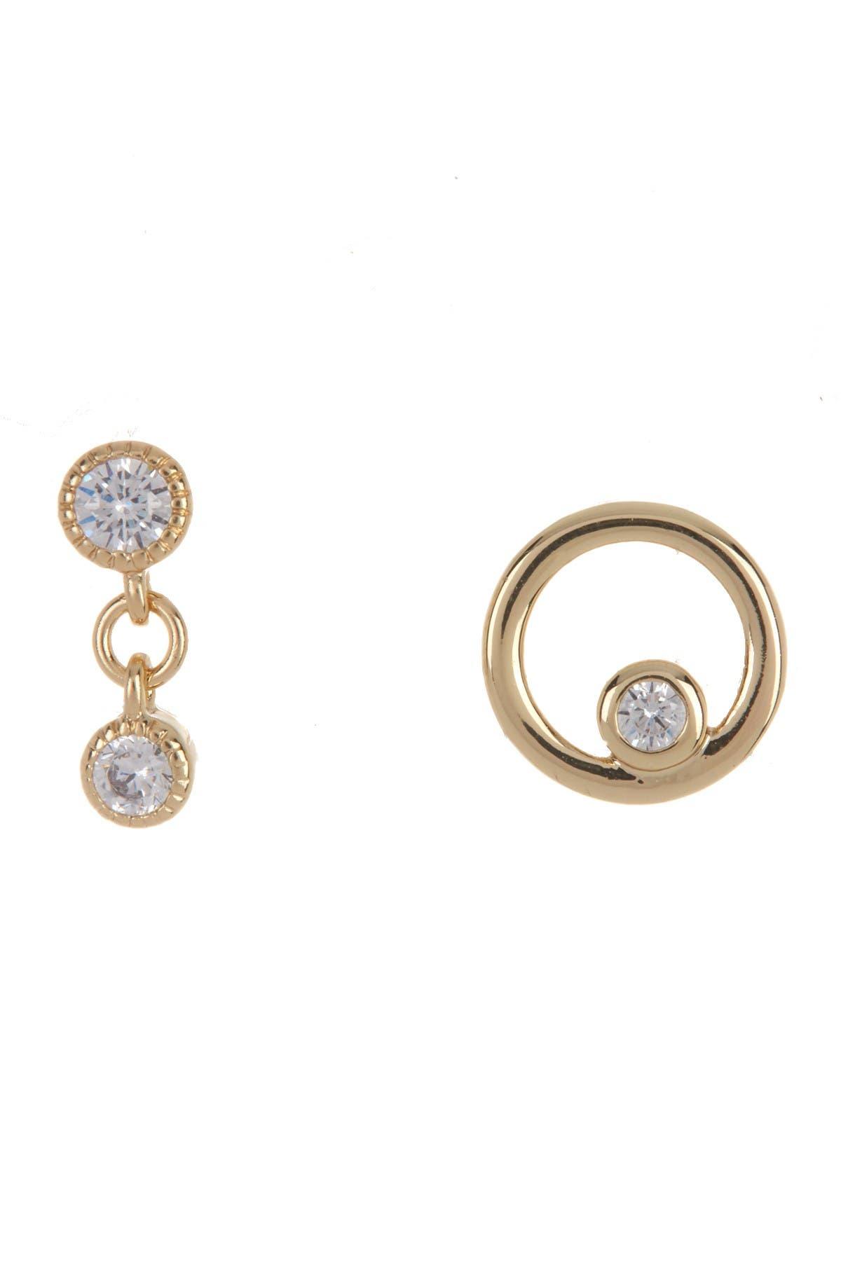 Image of Nordstrom Rack Drop & Circle Stud Earrings - Set of 2