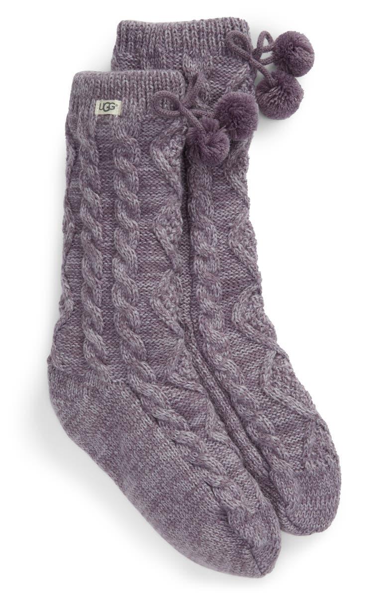 UGG<SUP>®</SUP> Pompom Fleece Lined Socks, Main, color, LAVENDER AURA