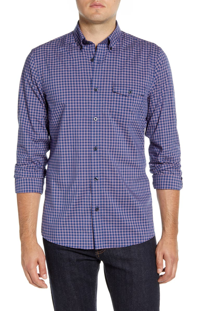 NORDSTROM MEN'S SHOP Nordstrom Mens Shop Tech-Smart Ivy Regular Fit Check Button-Down Shirt, Main, color, BLUE PINK SHORE CHECK