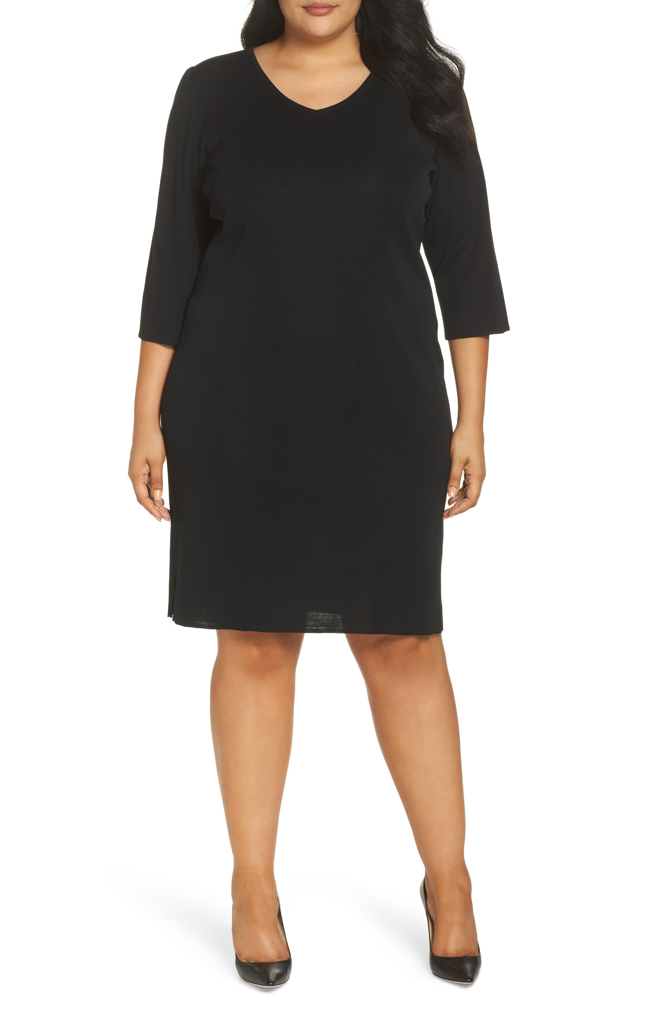 plus size women's ming wang v-neck dress, size 0x - black