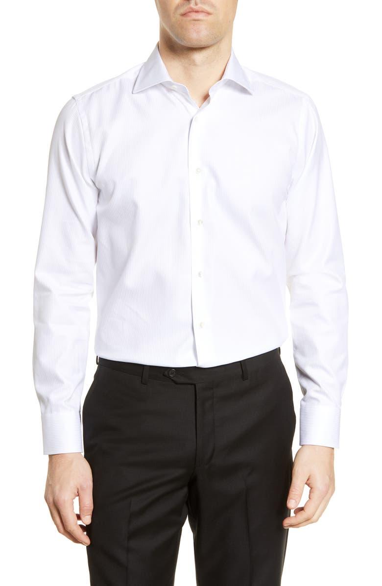 CANALI Regular Fit Herringbone Dress Shirt, Main, color, WHITE