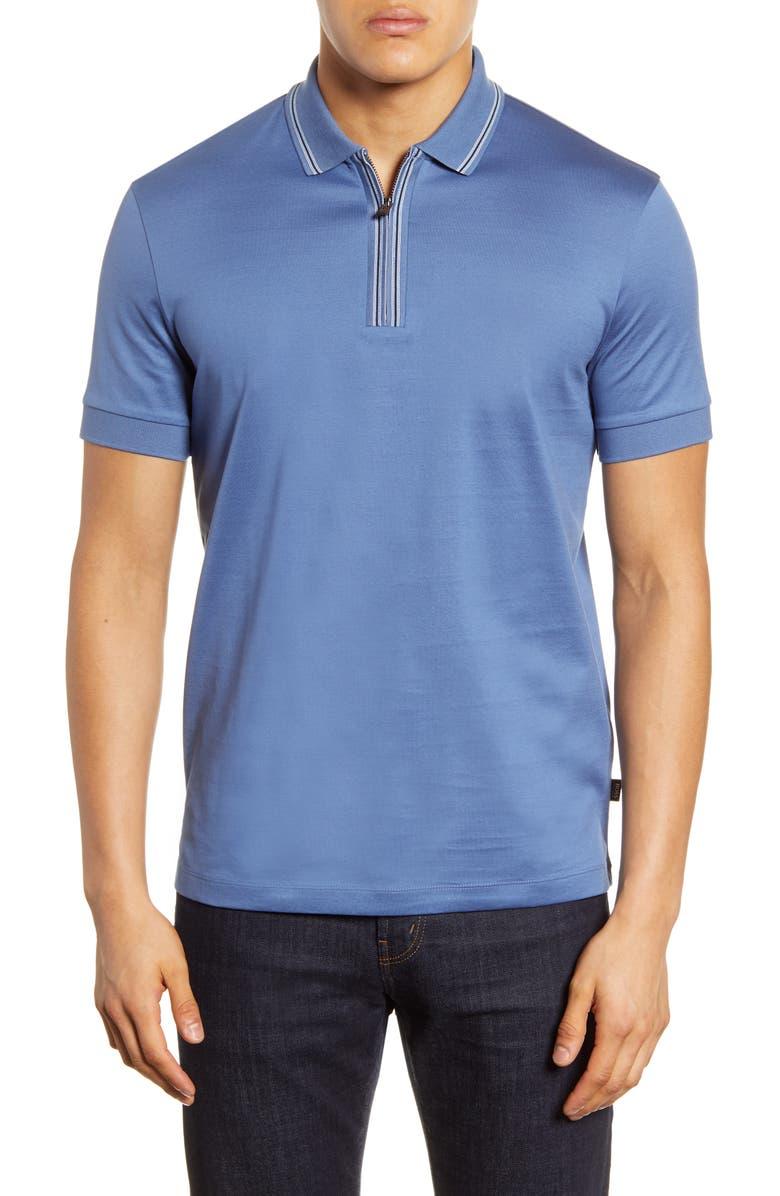 BOSS Paras Tipped Zip Polo, Main, color, OPEN BLUE