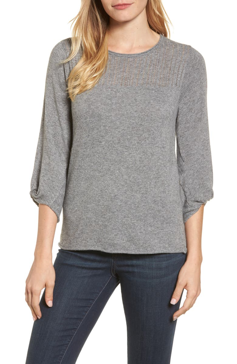 VELVET BY GRAHAM & SPENCER Pointelle Yoke Sweater, Main, color, HEATHER GREY