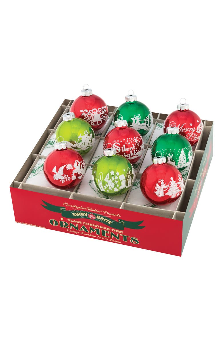 CHRISTOPHER RADKO Holiday Splendor Set of 9 Flocked Glass Ornaments, Main, color, GREEN MULTI