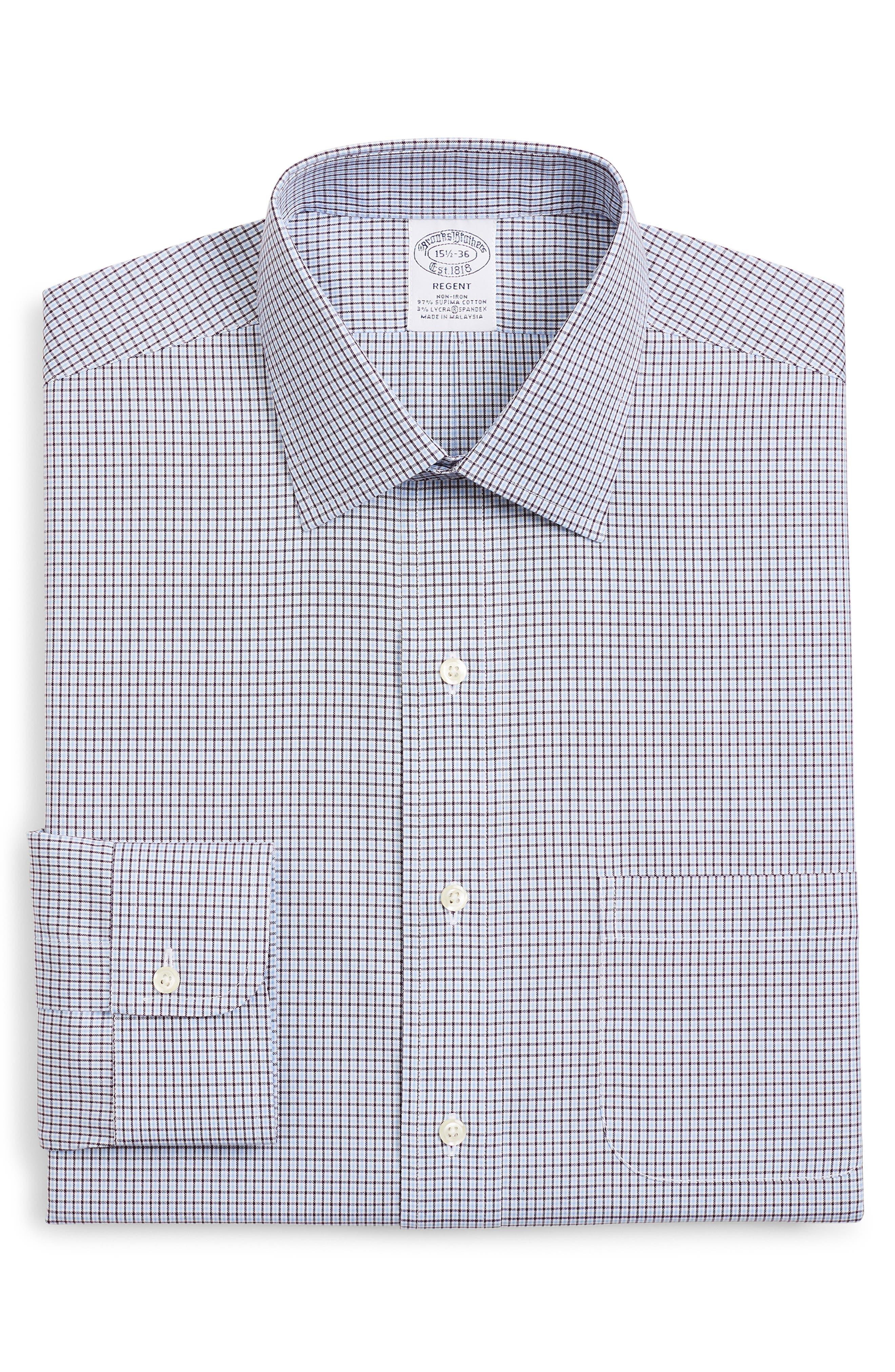 Regent Regular Fit Stretch Plaid Dress Shirt