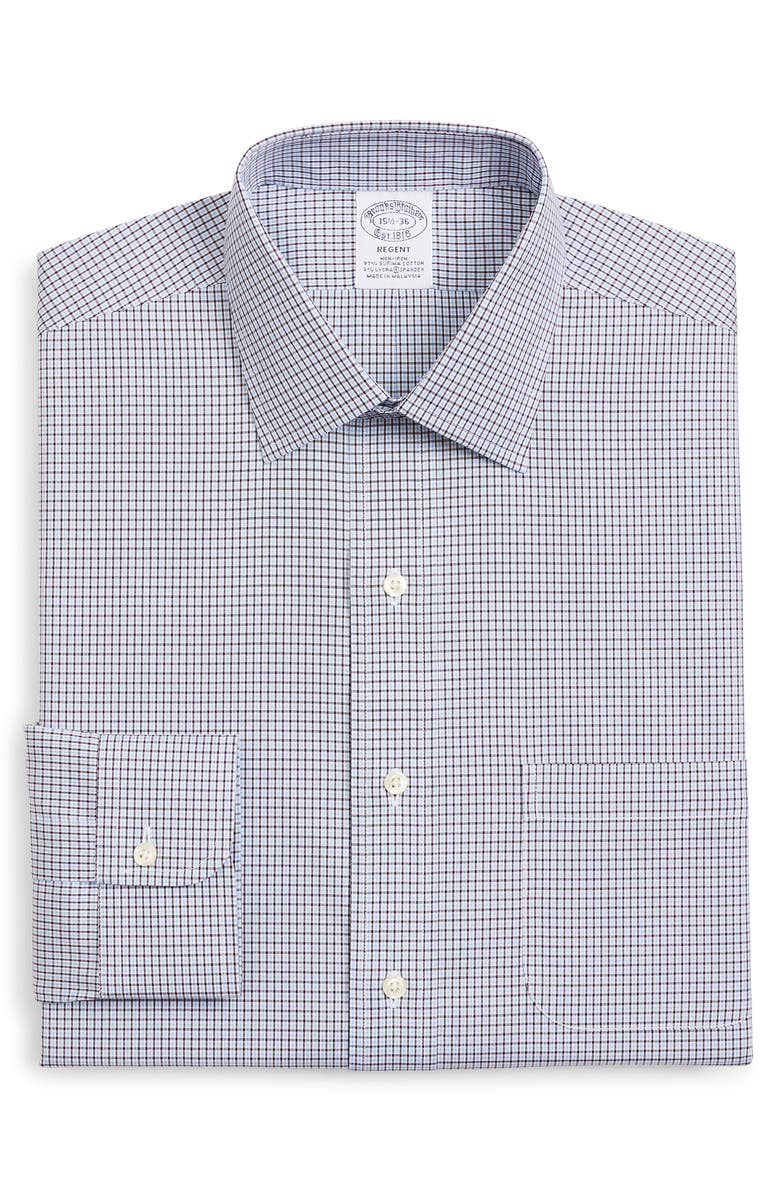 BROOKS BROTHERS Regent Regular Fit Stretch Plaid Dress Shirt, Main, color, OPEN BLUE