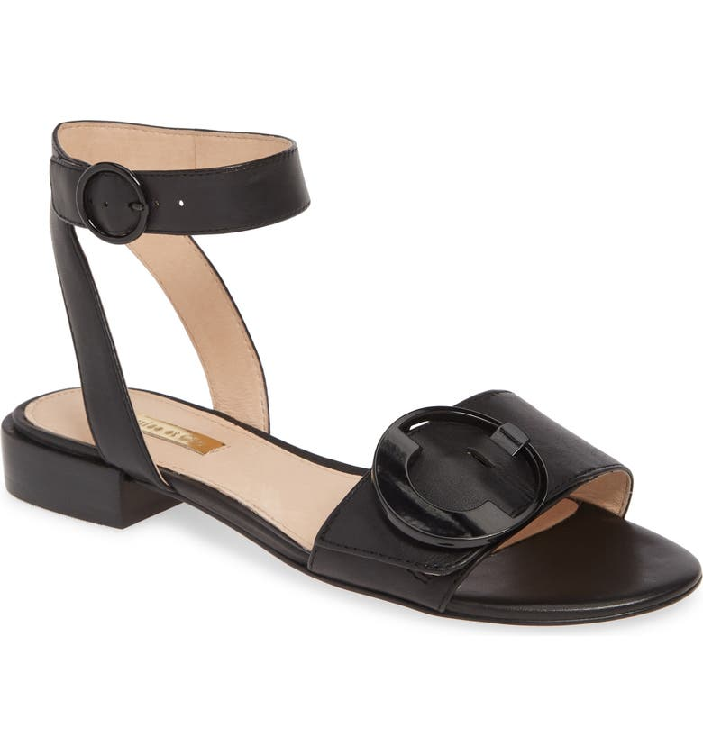 LOUISE ET CIE Austen Flat Sandal, Main, color, BLACK LEATHER