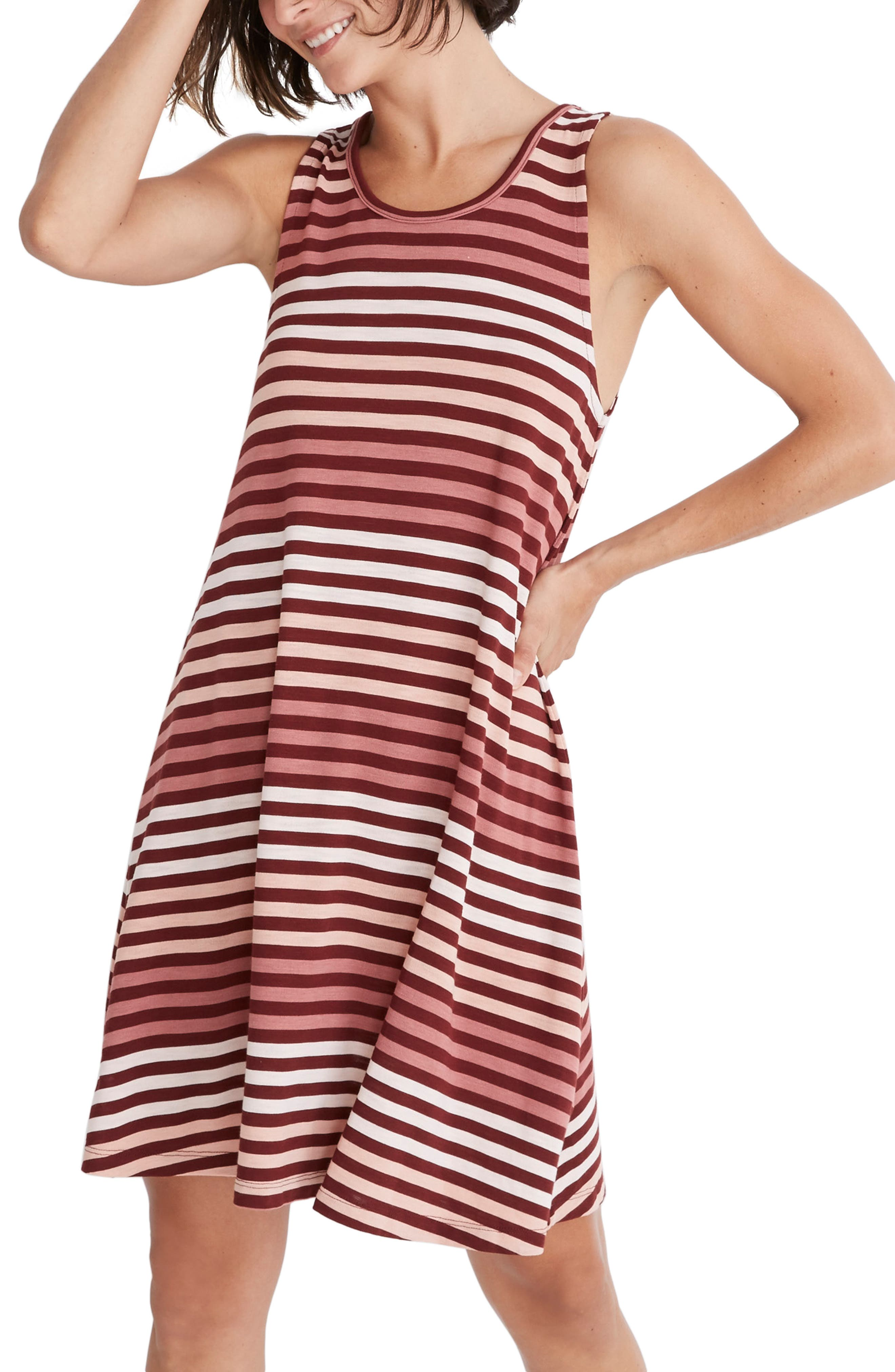Madewell Highpoint Sulley Stripe Tank Dress, Purple