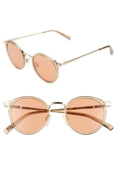 Le Specs Sunglasses TORNADO 48MM TINTED ROUND SUNGLASSES - TAN/ CINNAMON TINT