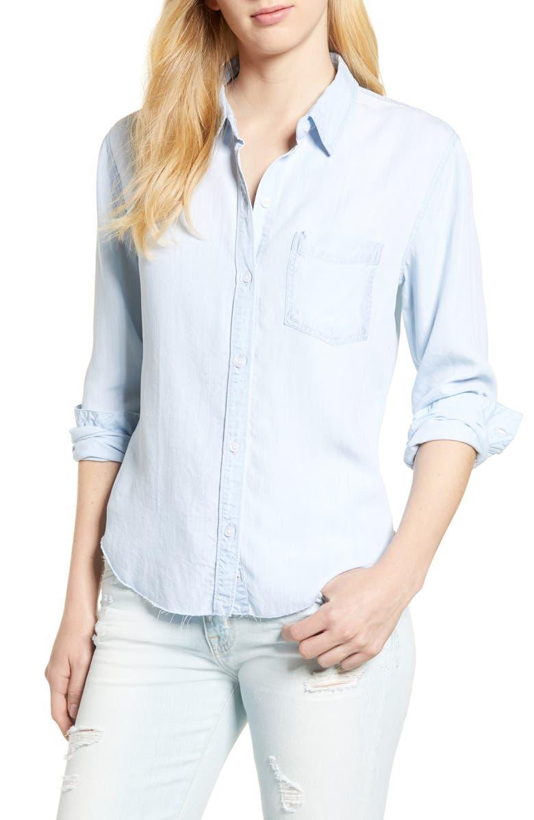 RAILS Ingrid Raw Hem Chambray Shirt, Main, color, LIGHT VINTAGE