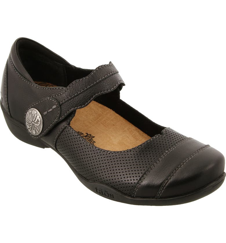TAOS Bravo Mary Jane Flat, Main, color, BLACK LEATHER