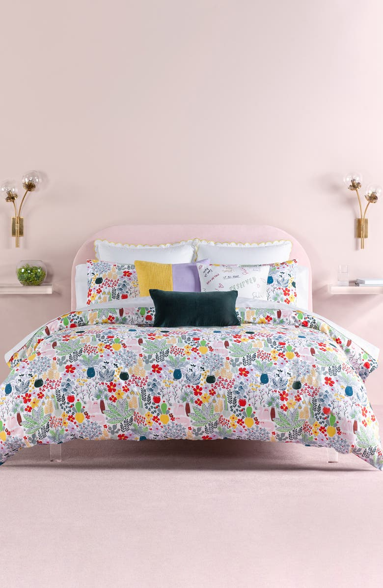 KATE SPADE NEW YORK cat in the garden duvet & sham set, Main, color, MULTI