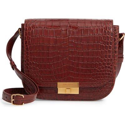 Saint Laurent Betty Croc Embossed Leather Shoulder Bag -