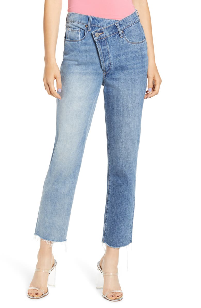 BLANKNYC Wrap Front High Waist Straight Leg Jeans, Main, color, 400