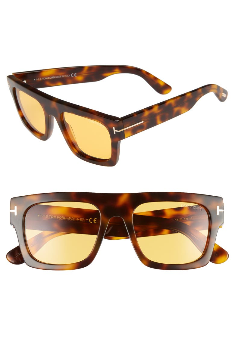 TOM FORD Fausto 53mm Flat Top Sunglasses, Main, color, SHINY HAVANA/ BROWN