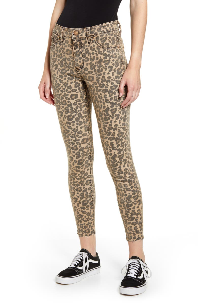 STS BLUE Ellie Leopard Print High Waist Ankle Skinny Jeans, Main, color, BROWN