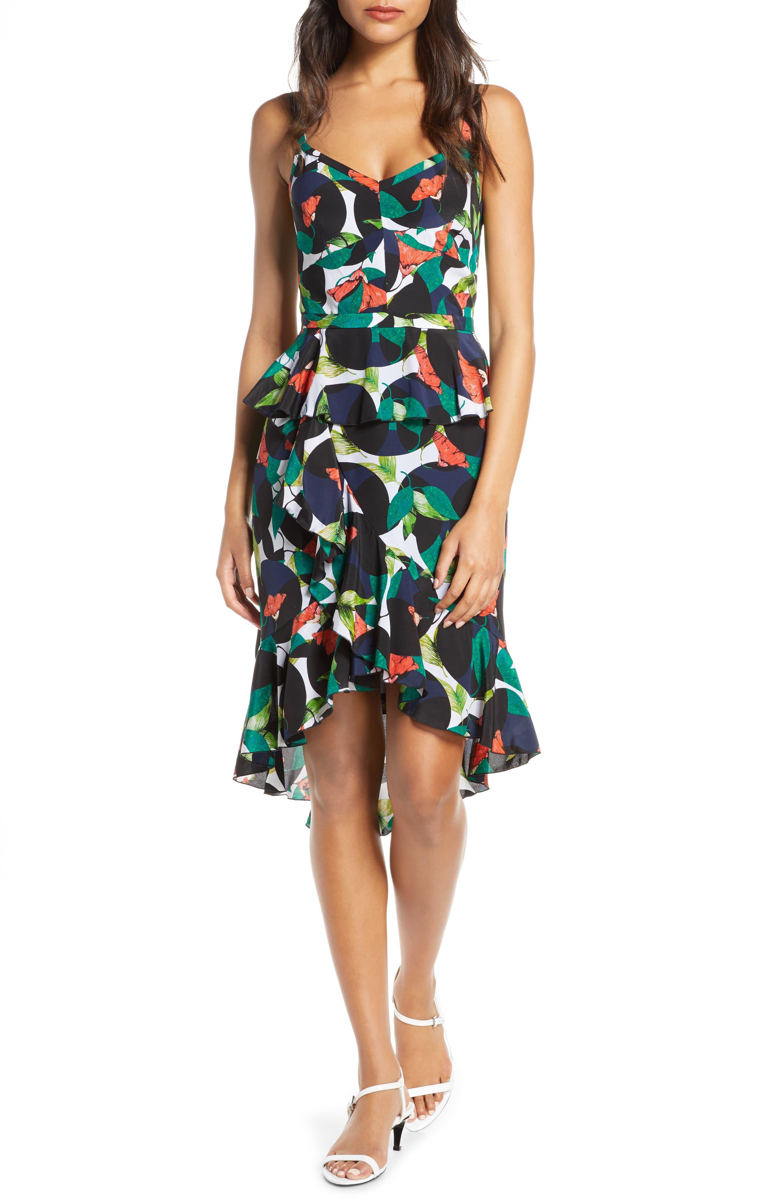 J.crew Ruffle Spaghetti Strap Tropical Silk Dress, Blue/green
