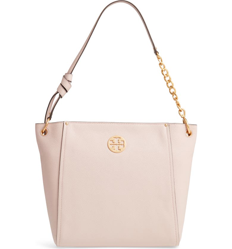 TORY BURCH Everly Leather Hobo, Main, color, SHELL PINK