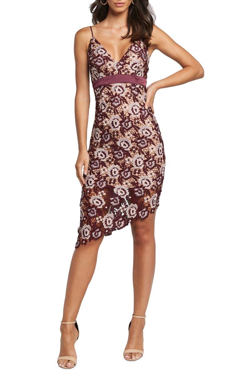 BARDOT Dalia Asymmetrical Lace Dress, Main, color, BURG FL