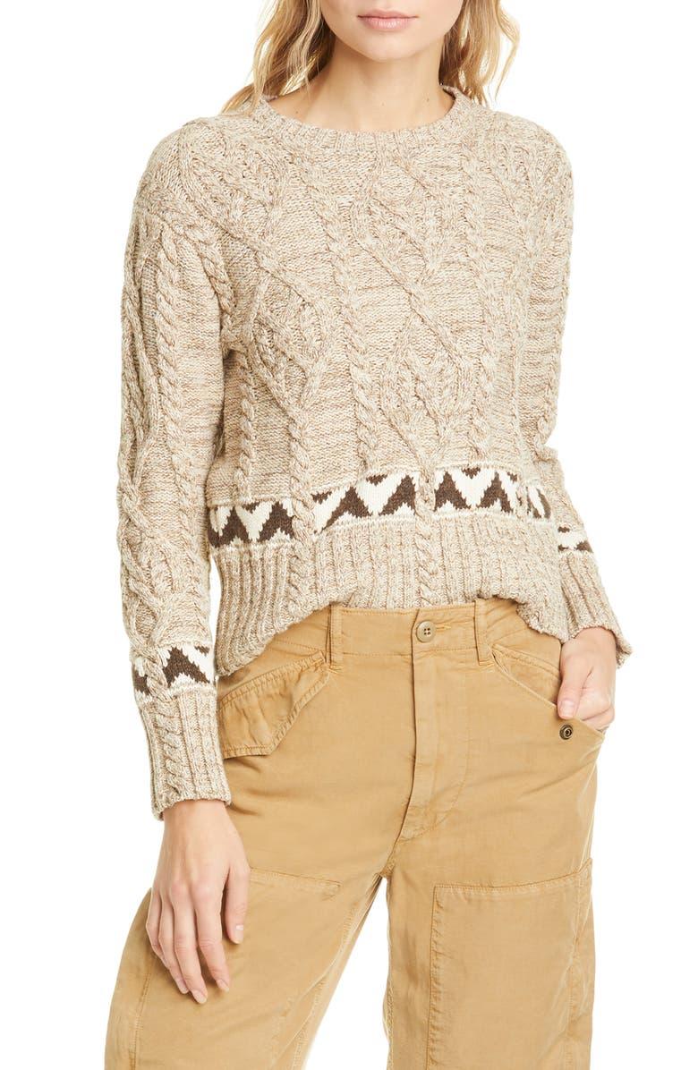 POLO RALPH LAUREN Aran Stitch Cotton & Linen Sweater, Main, color, OATMEAL MULTI