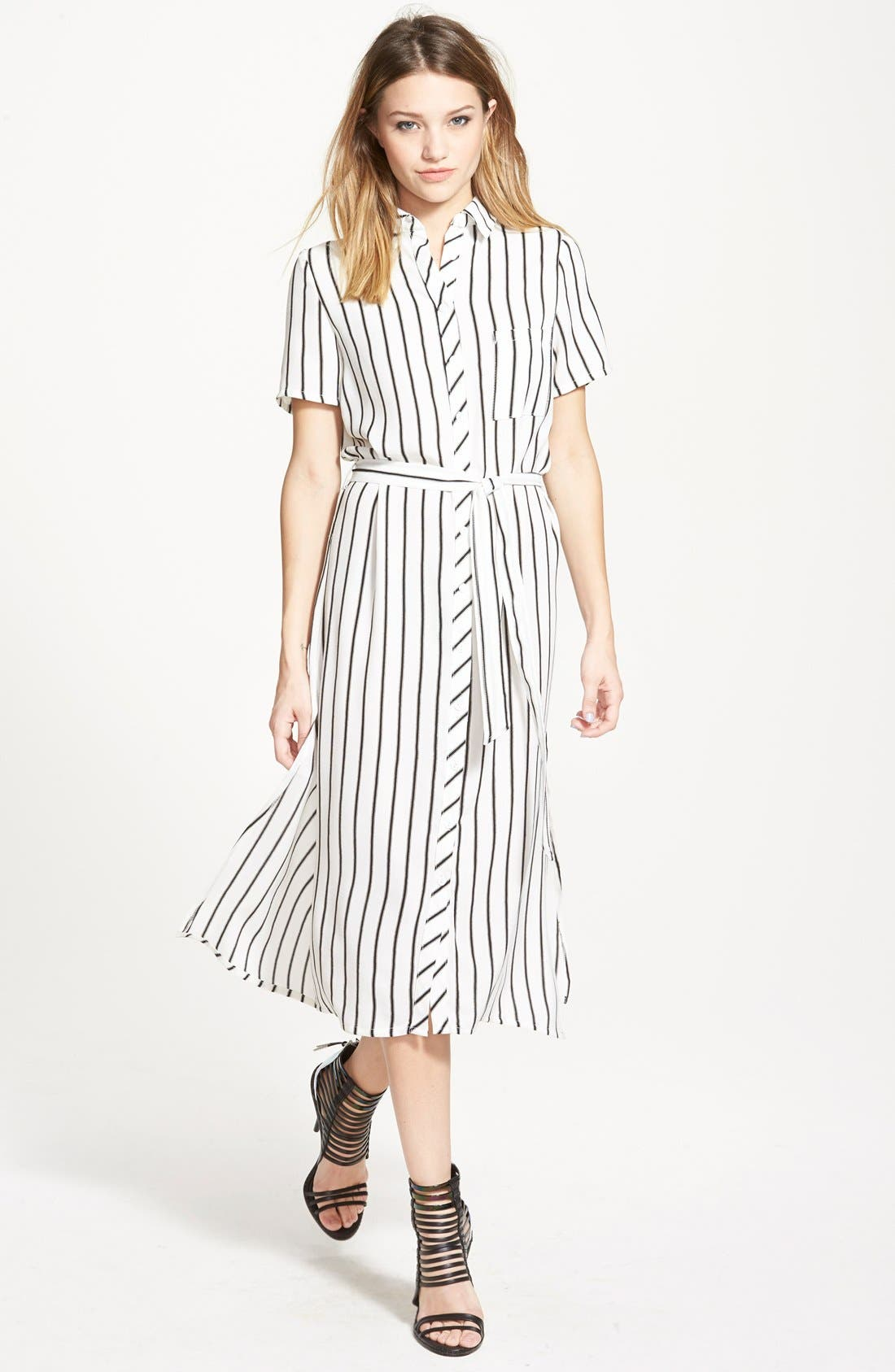 Belted Shirtdress, Main, color, 001