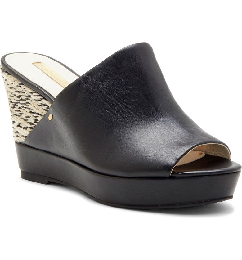 LOUISE ET CIE Ramsaye Wedge Sandal, Main, color, BLACK LEATHER