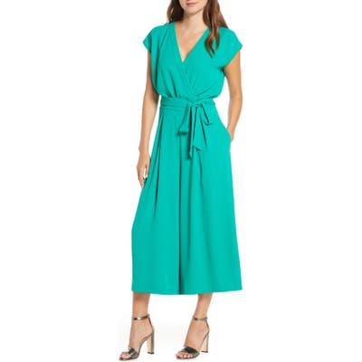 Petite Eliza J Faux Wrap Crop Jumpsuit, Green
