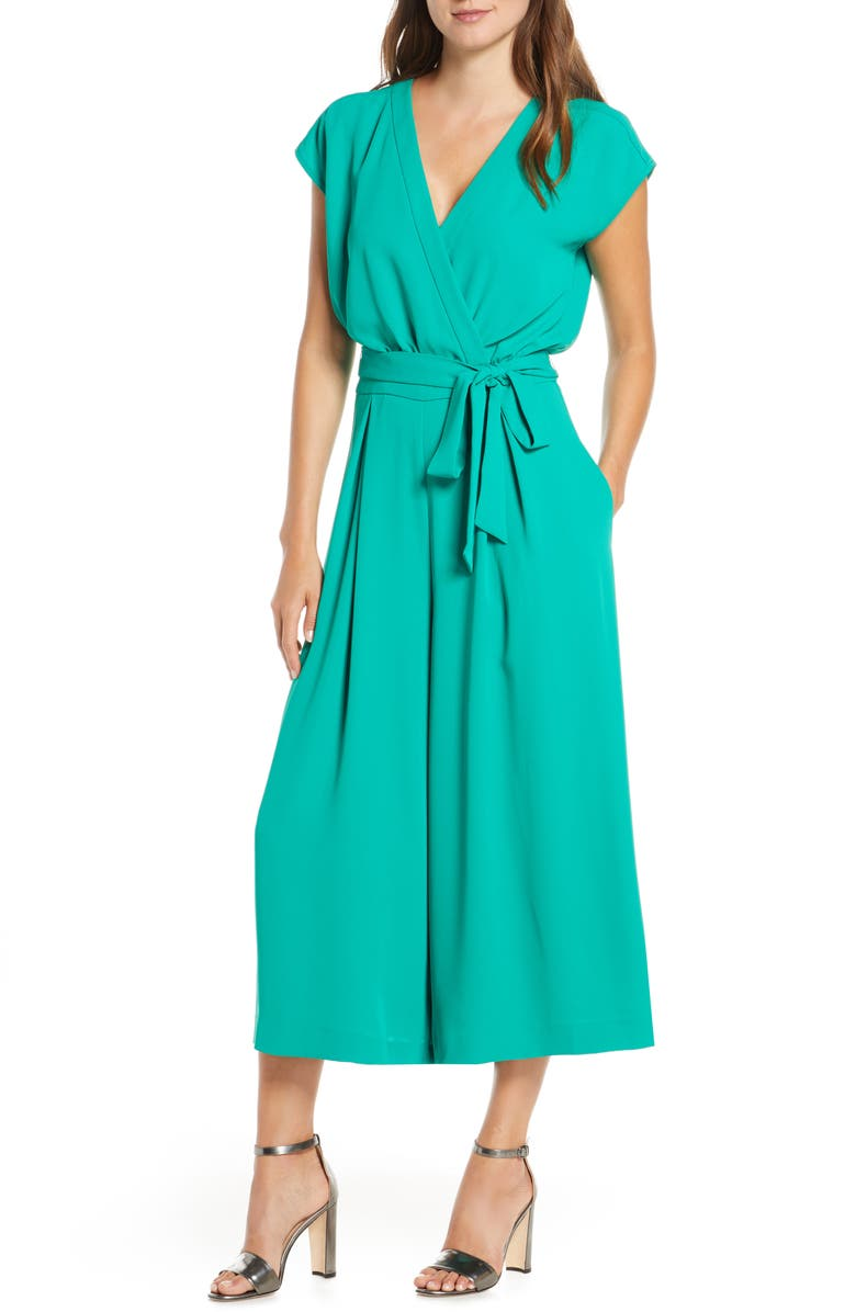 ELIZA J Faux Wrap Crop Jumpsuit, Main, color, KELLY GREEN