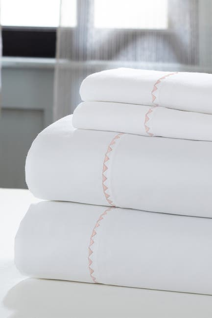 Image of Modern Threads 1000 Thread Count 4-Piece California King Sheet Set - White/Rose
