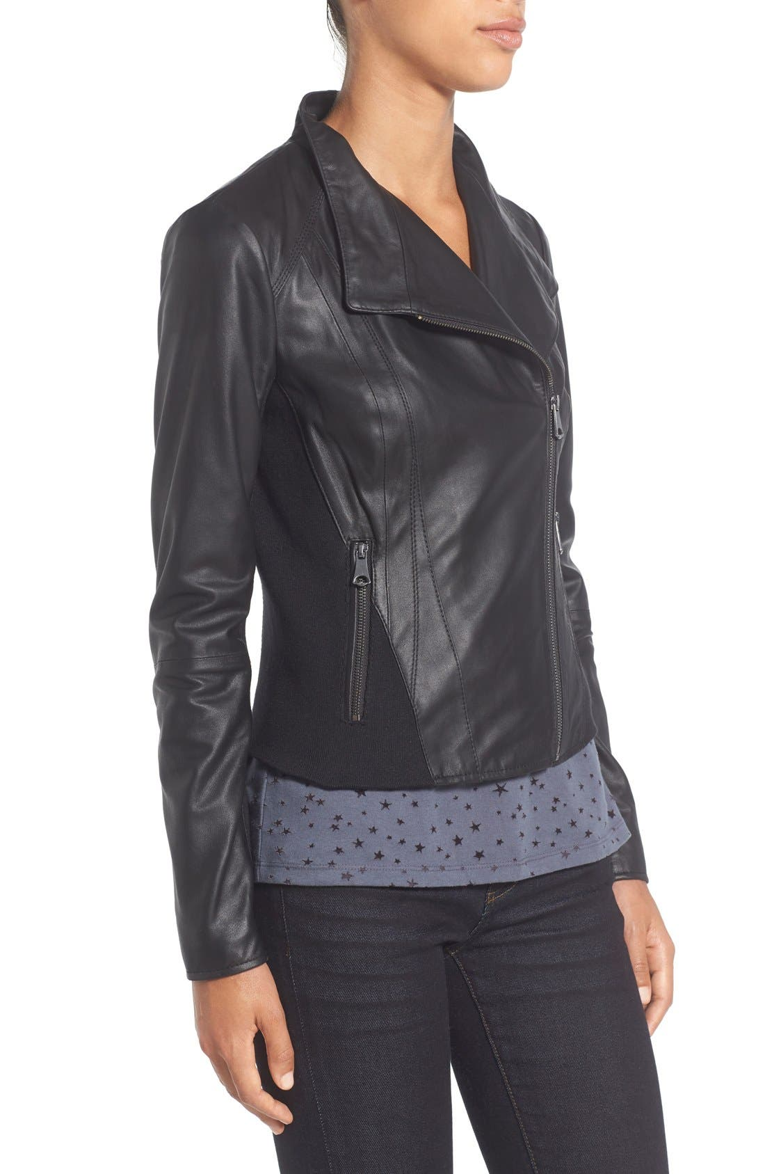 ,                             Marc New York by Andrew Marc Felix Stand Collar Leather Jacket,                             Alternate thumbnail 9, color,                             BLACK