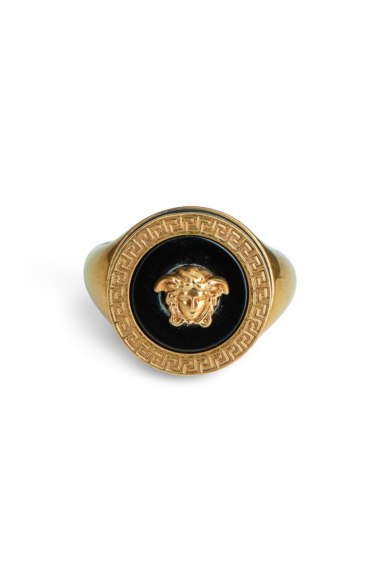 VERSACE FIRST LINE Versace Round Medusa Ring, Main, color, BLACK-TRIBUTE GOLD