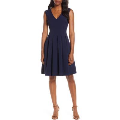 Petite Harper Rose Sleeveless Crepe Fit & Flare Dress, Blue