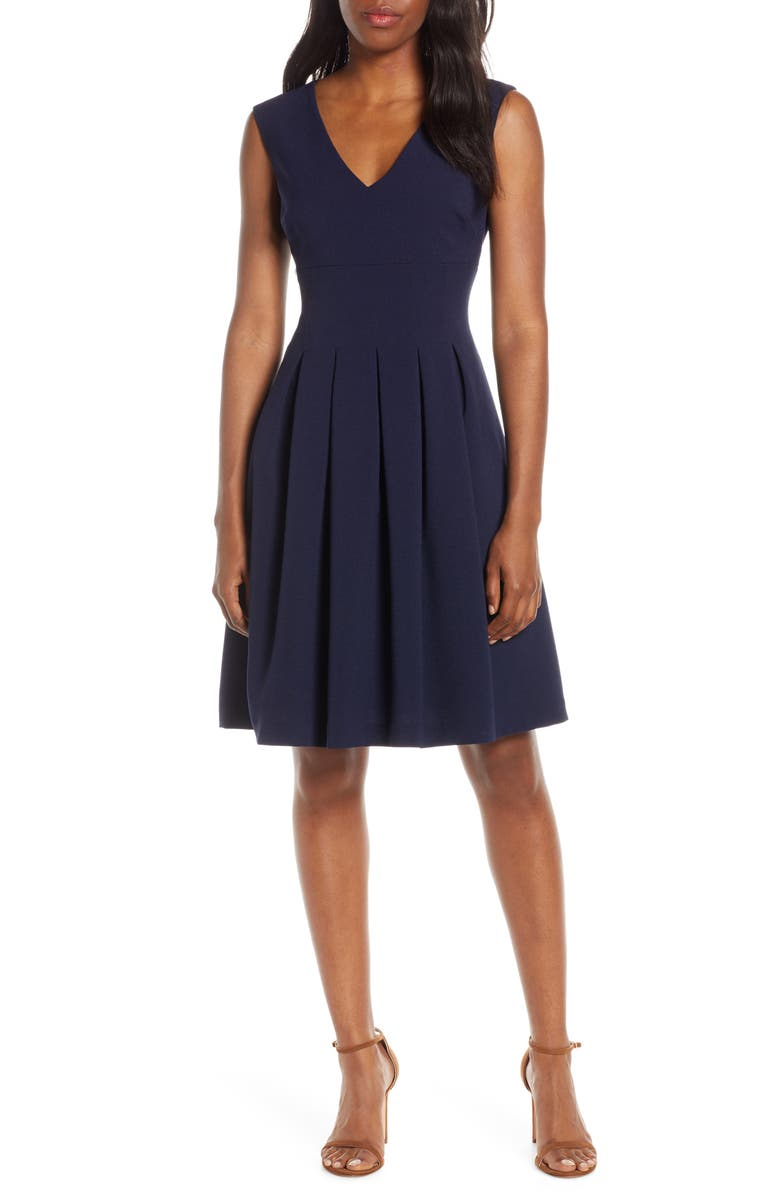 HARPER ROSE Sleeveless Crepe Fit & Flare Dress, Main, color, 410