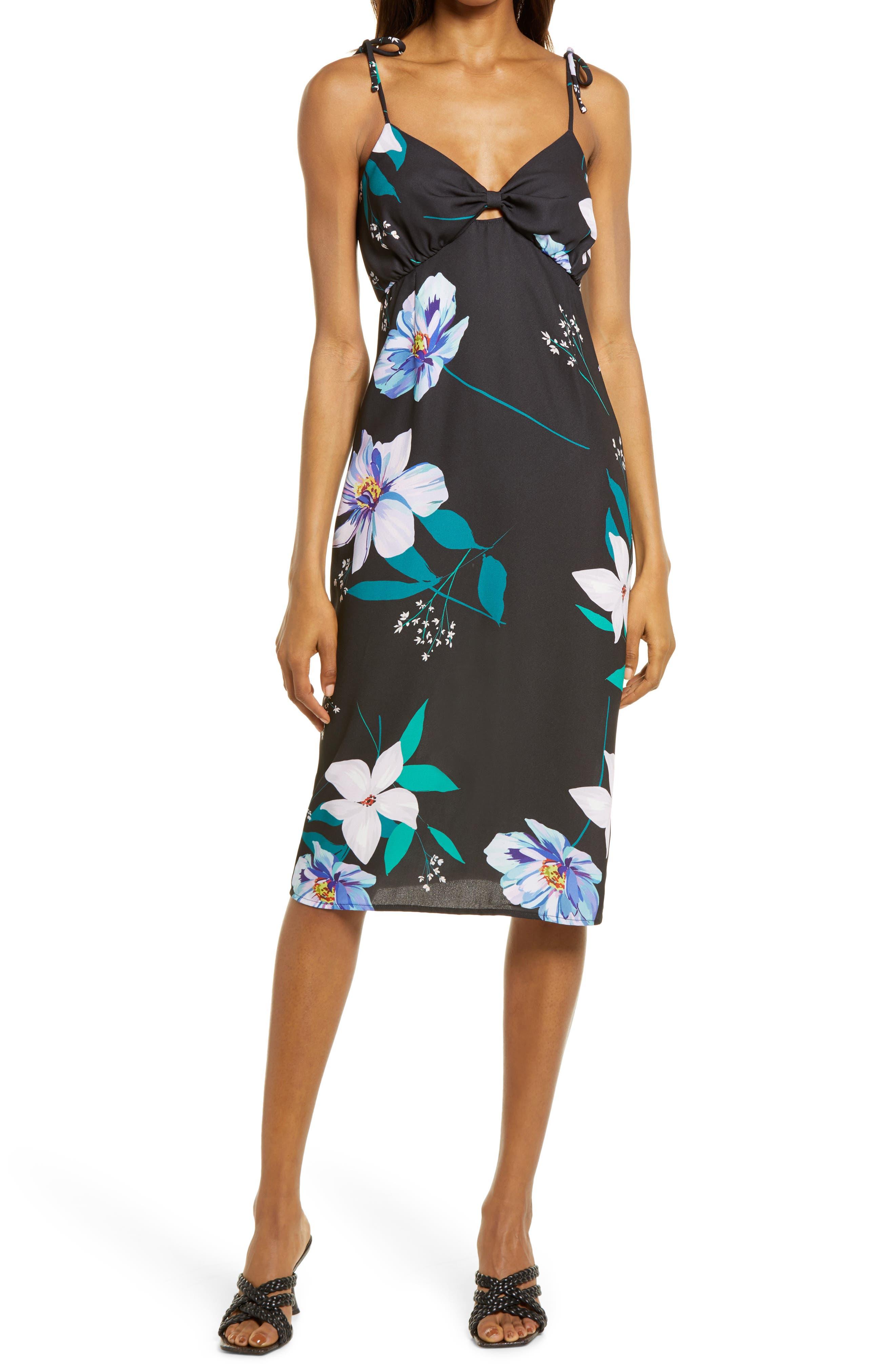 Twist Front Sleeveless Midi Dress