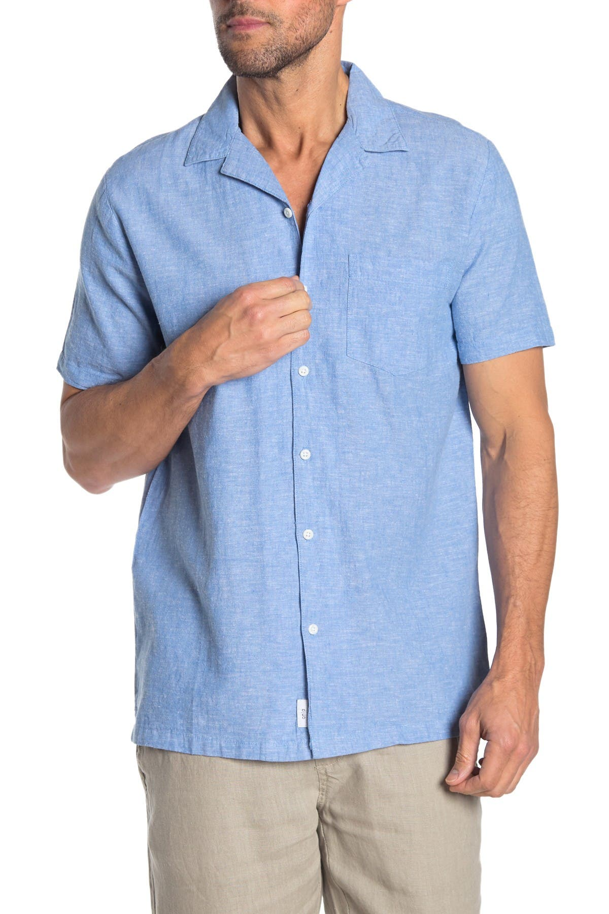 Image of Onia Solid Short Sleeve Trim Fit Shirt