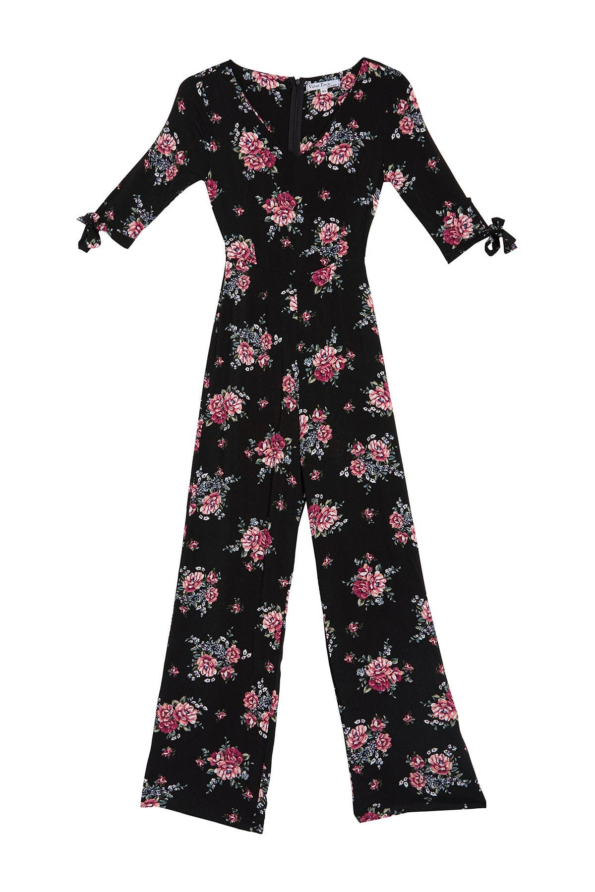 Image of Velvet Torch Floral Tie Sleeve Jumpsuit