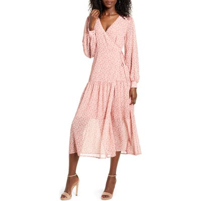All In Favor Print Long Sleeve Faux Wrap Midi Dress, Pink