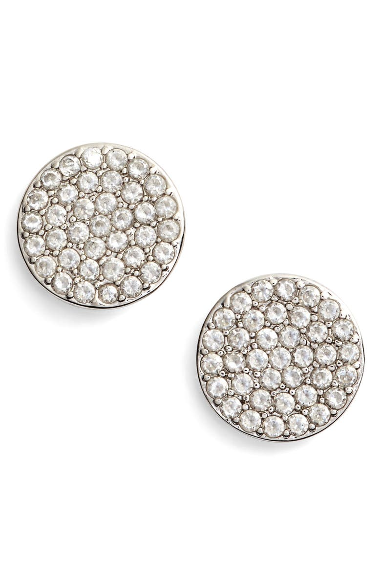 KATE SPADE NEW YORK shine on stud earrings, Main, color, SILVER/ CLEAR