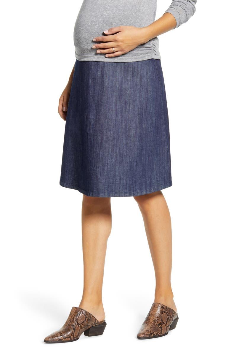 MATERNAL AMERICA Flared Maternity Skirt, Main, color, MED-INDIGO