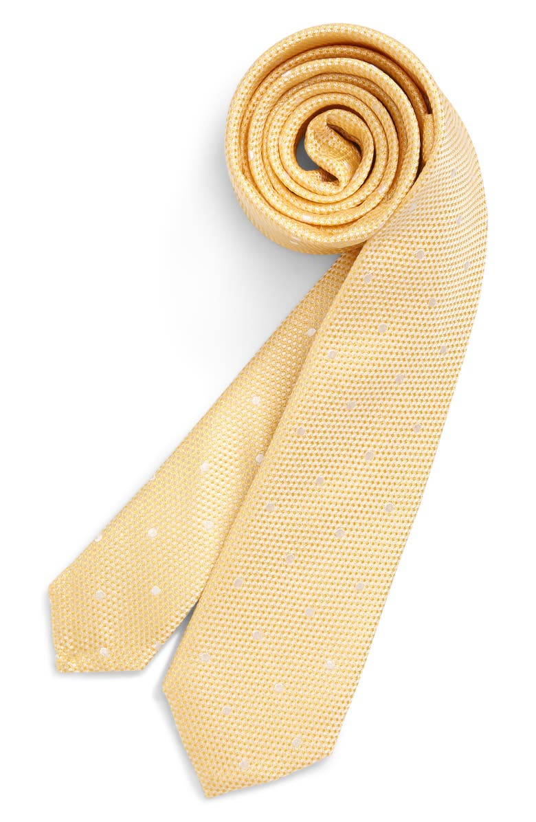 NORDSTROM Connor Dot Silk Tie, Main, color, YELLOW
