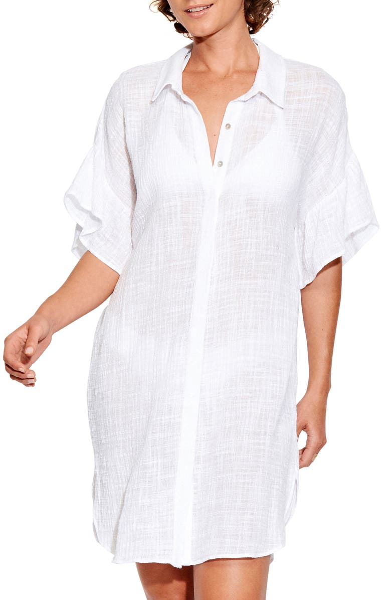 SEAFOLLY Beach Cover-Up Shirt, Main, color, WHITE