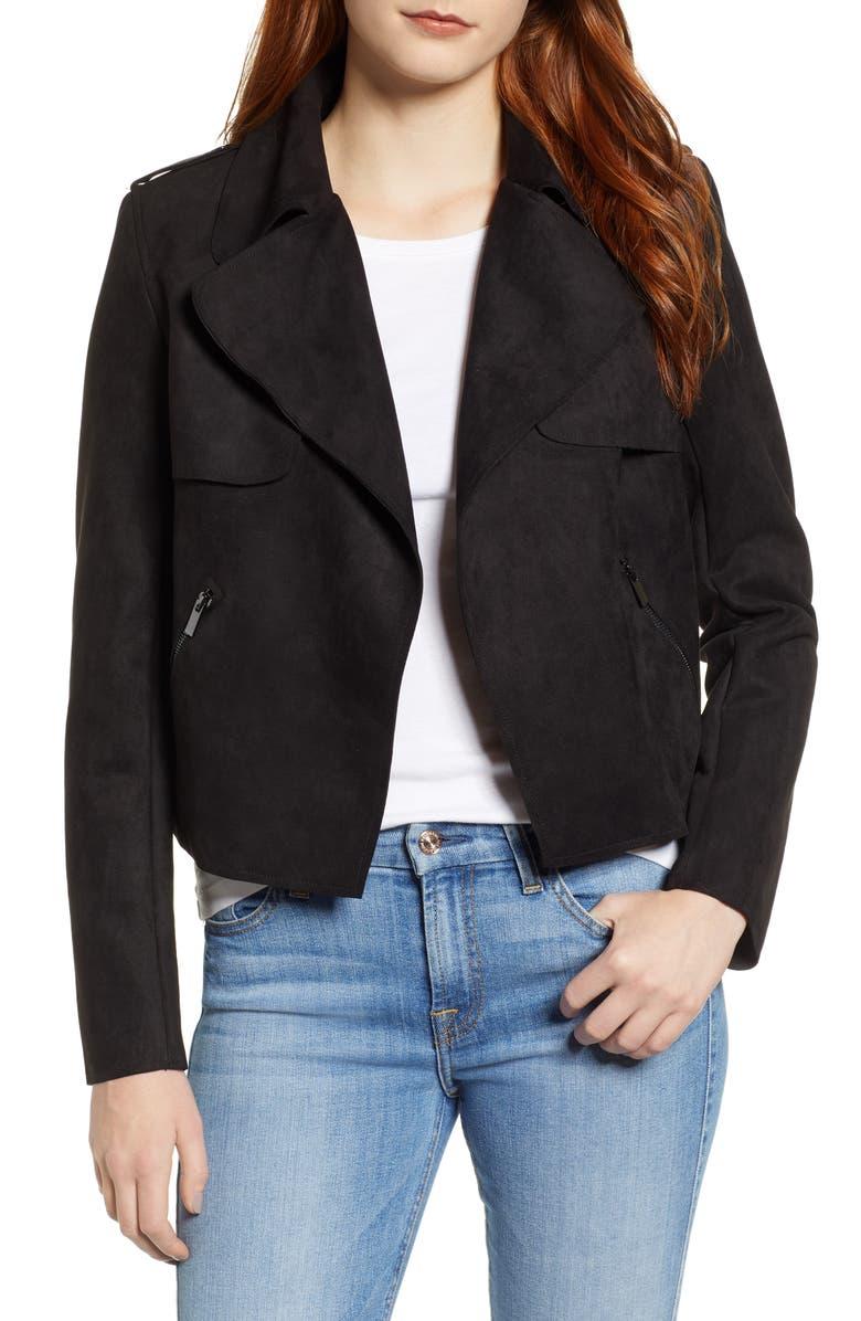 KUT FROM THE KLOTH Jacee Draped Moto Jacket, Main, color, BLACK